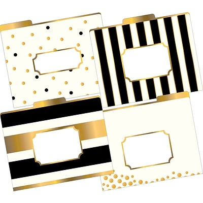 Barker Creek Gold Fashion File Folders, letter size, 1/3 cut, multi-design set, 12/Pack