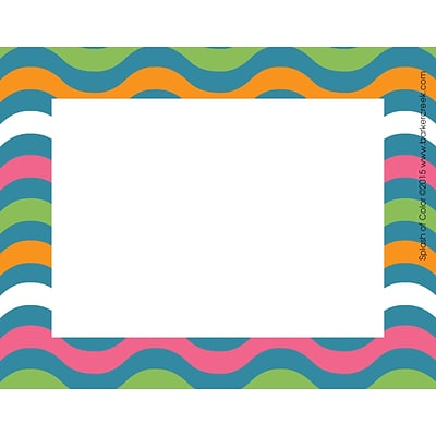 Barker Creek Splash of Color Name Badges & Self-Adhesive Labels, 3.5 x 2.75, multi-design, 45/Pk