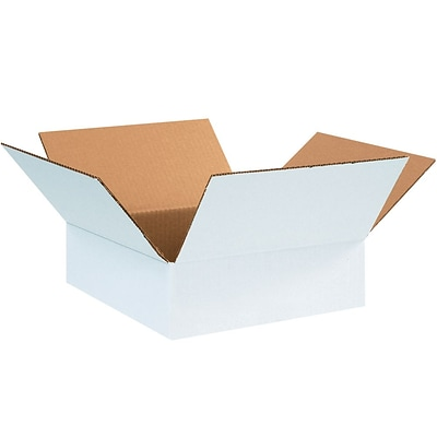 12124W White 4 x 12 Corrugated Boxes, 25/Bundle