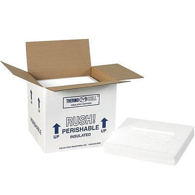 220C White 9.25 x 10 Corrugated Insulated Shipping Kit, 2/Case