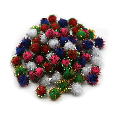 Charles Leonard Creative Arts™ Pom-Poms Furry Balls; Glitter Assorted, 1/2, 10/Pack