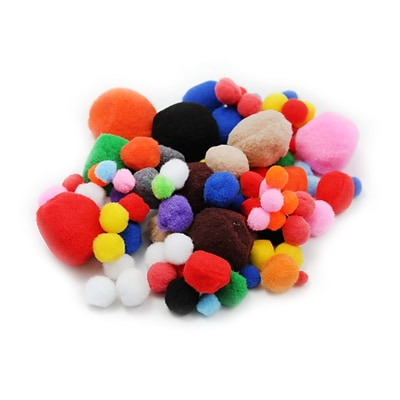 Charles Leonard Creative Arts™ Pom-Poms Furry Balls; Assorted Colors/Sizes, 8/Pack