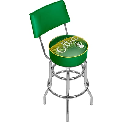 Trademark Global NBA Hardwood Classics NBA1100HC-BC Steel Bar Stool with Back, Boston Celtics