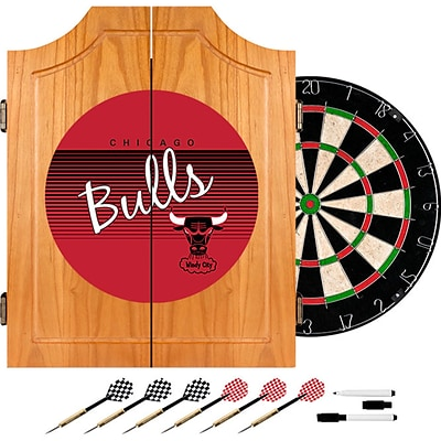 Trademark Global NBA NBA7000HC-CB Wood Dart Cabinet Set; Chicago Bulls