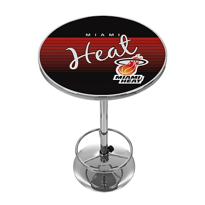 Trademark Fine Art NBA NBA2000HC-MH 42 Metal Chrome Pub Table; Miami Heat