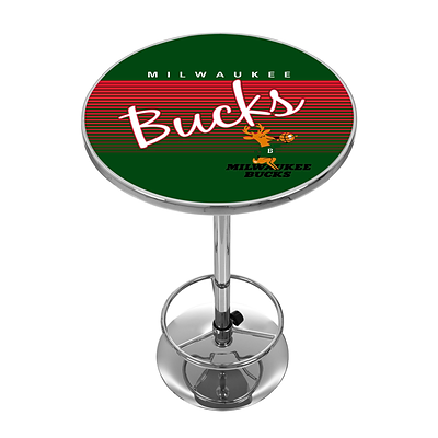Trademark Fine Art NBA NBA2000HC-MB 42 Metal Chrome Pub Table; Milwaukee Bucks