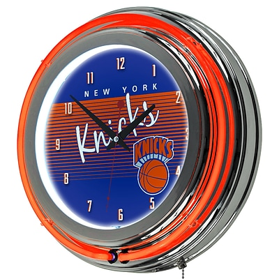 Trademark Global NBA Hardwood Classics 14.5 Blue Double Ring Neon Clock, New York Knicks