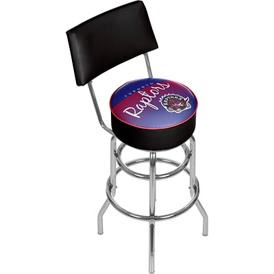 Trademark Global NBA Hardwood Classics NBA1100HC-TR Steel Bar Stool with Back, Toronto Raptors