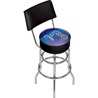 Trademark Global NBA Hardwood Classics NBA1100HC-UJ Steel Bar Stool with Back, Utah Jazz