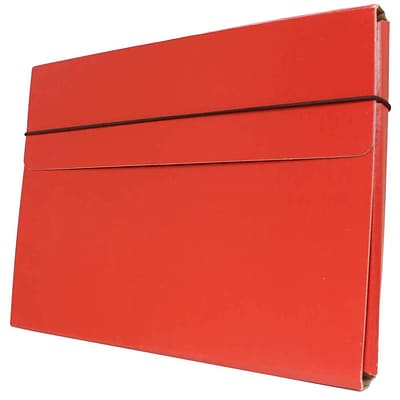 JAM Paper® Strong Thin Portfolio Carrying Case with Elastic Band Closure - 9 1/4 x 1/2 x 12 1/2 - Red - Sold Individually