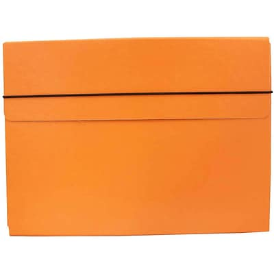 JAM Paper® Strong Thin Portfolio Carrying Case with Elastic Band Closure - 9 1/4 x 1/2 x 12 1/2 - Orange - Sold Individually