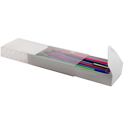 JAM Paper® Pencil Cases - Sliding Pencil Case with Button Snap - Clear - Sold Individually
