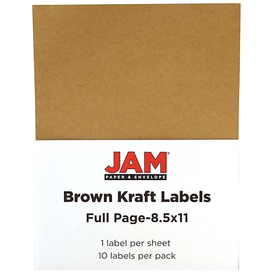 JAM Paper® Full Page Labels, 8.5 x 11 Sticker Paper, Brown Kraft, 10/pack (337628602)