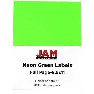 JAM Paper® Full Page Labels, 8.5 x 11 Sticker Paper, Neon Green, 10/pack (337628609)