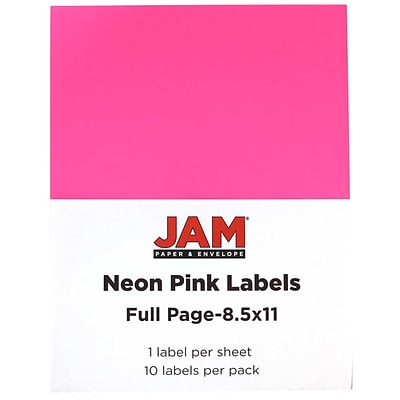 JAM Paper® Full Page Labels, 8.5 x 11 Sticker Paper, Neon Pink, 10/pack (337628614)
