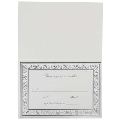JAM Paper® Fill-in Wedding Reply Card Set, Elegant Silver Border, 25/pack (354628403)