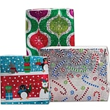 JAM Paper® Christmas Holiday Gift Wrapping Paper, 25 sq. ft., Green Ornaments, Candy Canes, Santas