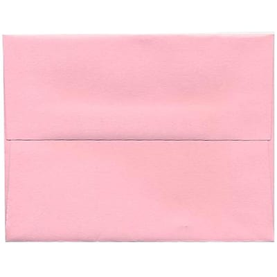 JAM Paper® A2 Invitation Envelopes, 4 3/8 x 5 3/4, Brite Hue Baby Pink, 250/box (155623H)