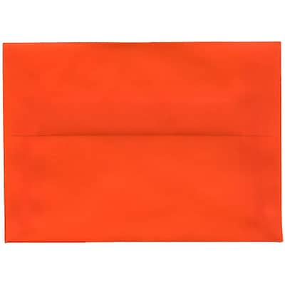 JAM Paper® 4bar A1 Envelopes, 3 5/8 x 5 1/8, Translucent Vellum Orange, 250/box (1591617H)