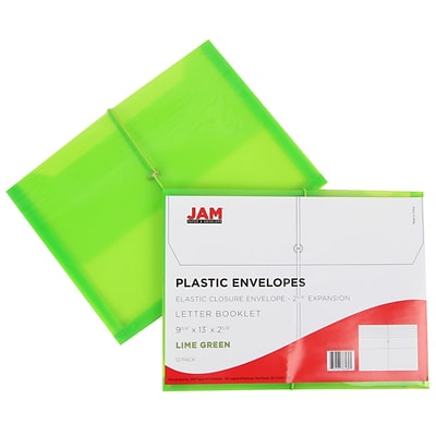 JAM Paper® Plastic Envelopes with 2 5/8 Expansion, Elastic Closure, Letter Booklet, 9.75x13, Lime Green Poly, 12/pk (218E25LIB)