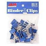 JAM Paper® Binder Clips, Small, 19mm, Blue Binderclips, 25/pack (334BCBU)