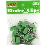 JAM Paper® Colored Binder Clips, Small, 19mm, Green Binder Clips 25/Pack (334BCGR)