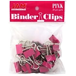 JAM Paper® Binder Clips, Small, 19mm, Pink Binderclips, 25/pack (334BCPI)