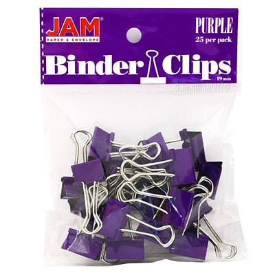 JAM Paper® Colored Binder Clips, Small, 19mm, Purple Binder Clips, 25/Pack (334BCPU)