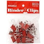 JAM Paper® Binder Clips, Small, 19mm, Red Binderclips, 25/pack (334BCRE)