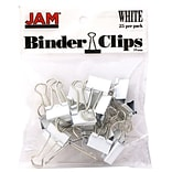 JAM Paper® Colored Binder Clips, Small, 19mm, White Binder Clips, 25/Pack (334BCWH)