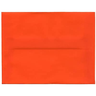 JAM Paper® A2 Invitation Envelopes, 4 3/8 x 5 3/4, Orange Translucent Vellum, 250/box (PACV619H)