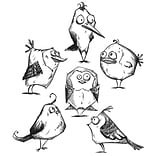 Stampers Anonymous Tim Holtz Cling Rubber Stamp Set, Bird Crazy