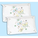 Jack Dempsey Stamped Pillowcase Shams 5.5 x 8.5 inch Fluttering Butterflies