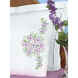 Jack Dempsey Stamped Pillowcases White Perle Edge White, Floral Bouquet