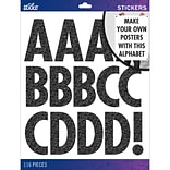 Sticko Alphabet Stickers X-Large, Black Glitter Futura