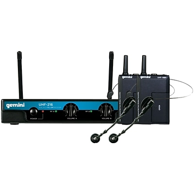 Gemini® UHF- 216HL Dual-Channel Wireless Head-Worn And Lavalier Microphone System