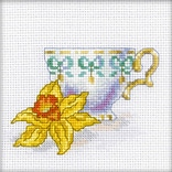 RTO EH306 Multicolor 4.75 x 4.75 Counted Cross Stitch Kit, Daffodil Tea Party