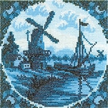 RTO EH313 Blue 4.25 x 4.25 Counted Cross Stitch Kit, Antique Dutch Tiles Windmill II