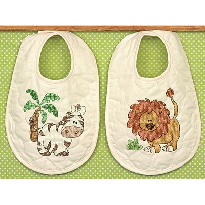 Dimensions 70-73881 White 14 x 9 Kimba Baby Bibs Stamped Cross Stitch Kit, 2/Set