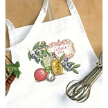 Dimensions 72-73884 White 36 x 30 Stamped Cross Stitch Apron, Tuscan Flavor