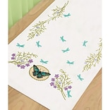 Dimensions 72-73889 White 39 x 14 Butterfly Meadow Stamped Cross Stitch Dresser Scarf