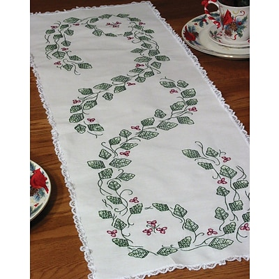 Fairway 27014 White 42 x 15 Stamped Lace Edge Table Runner, Ivy