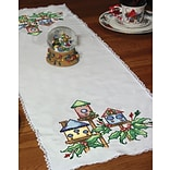 Fairway 27027 White 42 x 15 Stamped Lace Edge Table Runner, Birdhouse