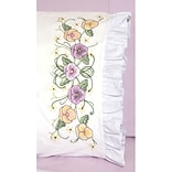 Fairway 82674 White 30 x 20 Pansy Stamped Lace Edge Pillowcases, 2/Pack