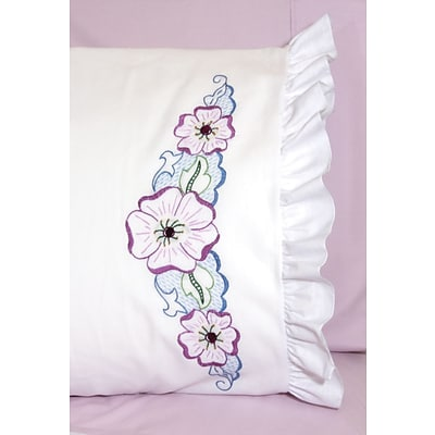 Fairway 82679 White 30 x 20 Large Flower Stamped Lace Edge Pillowcases, 2/Pack