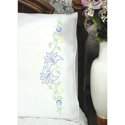 Fairway 83013 White 30 x 20 Lilies On Vine Stamped Perle Edge Pillowcases, 2/Pack