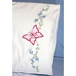 Fairway 83039 White 30 x 20 Red Butterfly Stamped Perle Edge Pillowcases, 2/Pack