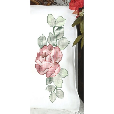 Fairway 83216 White 30 x 20 Red Rose Stamped Perle Edge Pillowcases, 2/Pack