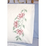 Fairway 83249 White 30 x 20 Three Roses Stamped Perle Edge Pillowcases, 2/Pack