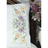 Fairway 83274 White 30 x 20 Pansy Stamped Perle Edge Pillowcases, 2/Pack